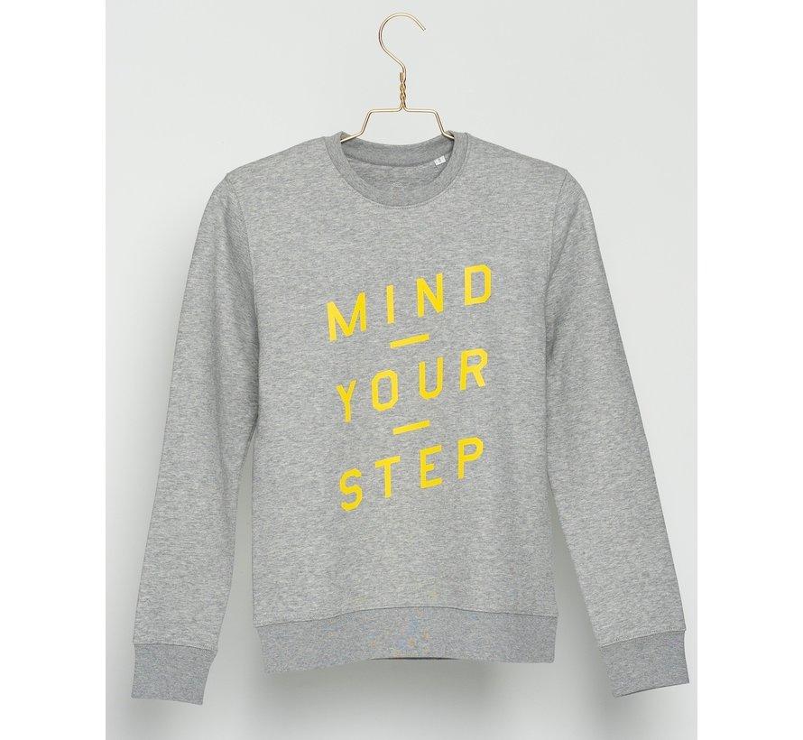"""Chicken or Pasta Sweater """"Mind Your Step"""" - Grijs en Geel"""