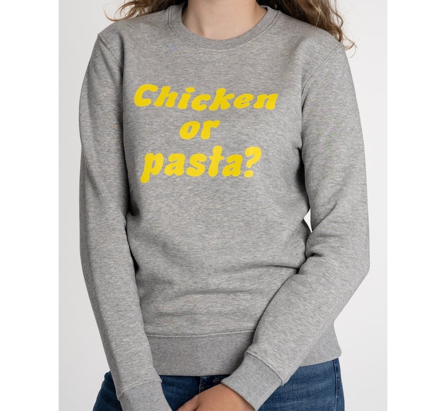 Chicken or Pasta Sweater met opdruk - Grijs en Geel