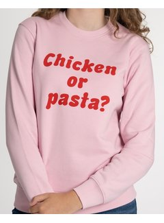 Chicken or Pasta Sweater Chicken or Pasta - Pink en Rode Opdruk