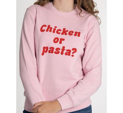 Chicken or Pasta Chicken or Pasta Sweater met opdruk - Pink en Rood