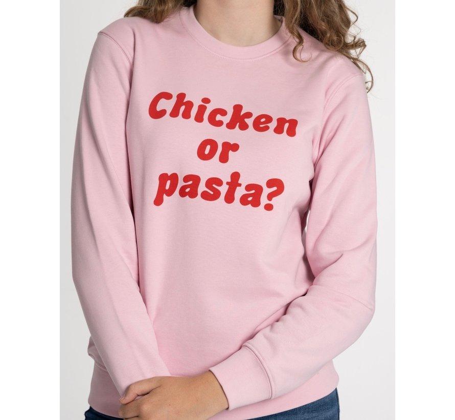 Chicken or Pasta Sweater met opdruk - Pink en Rood