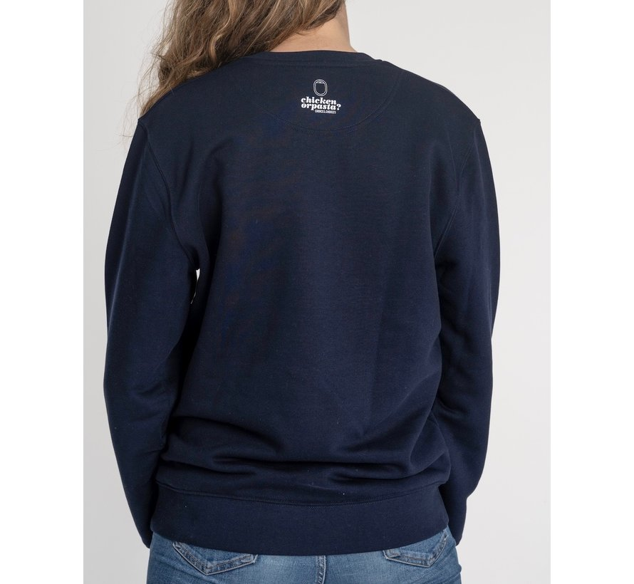 Chicken or Pasta Sweater met opdruk - Navy en Rood