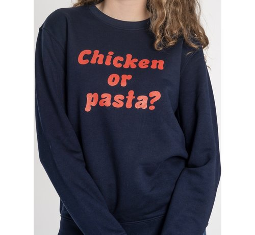 Chicken or Pasta Chicken or Pasta Sweater met opdruk - Navy en Rood