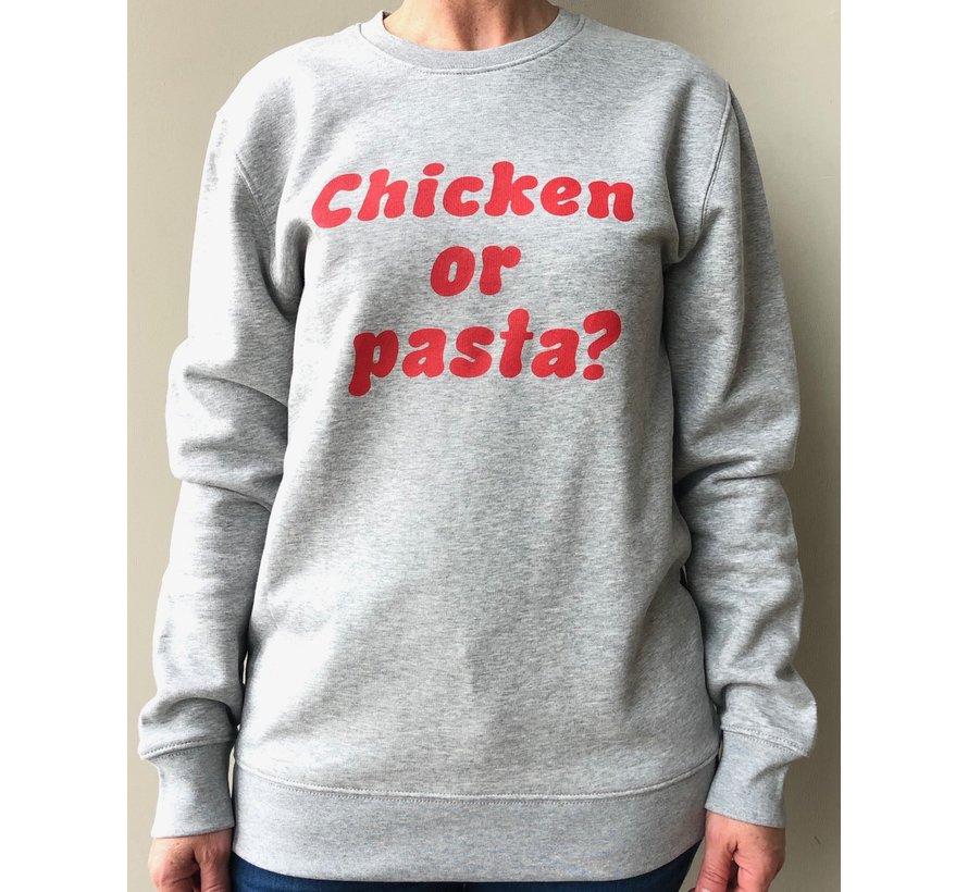 Chicken or Pasta Sweater met opdruk - Grijs en Rood
