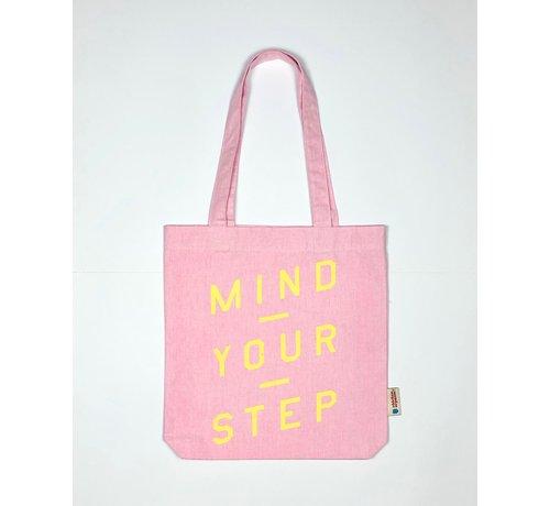 Chicken or Pasta Chicken or Pasta Pink Tote Bag met opdruk Mind Your Step