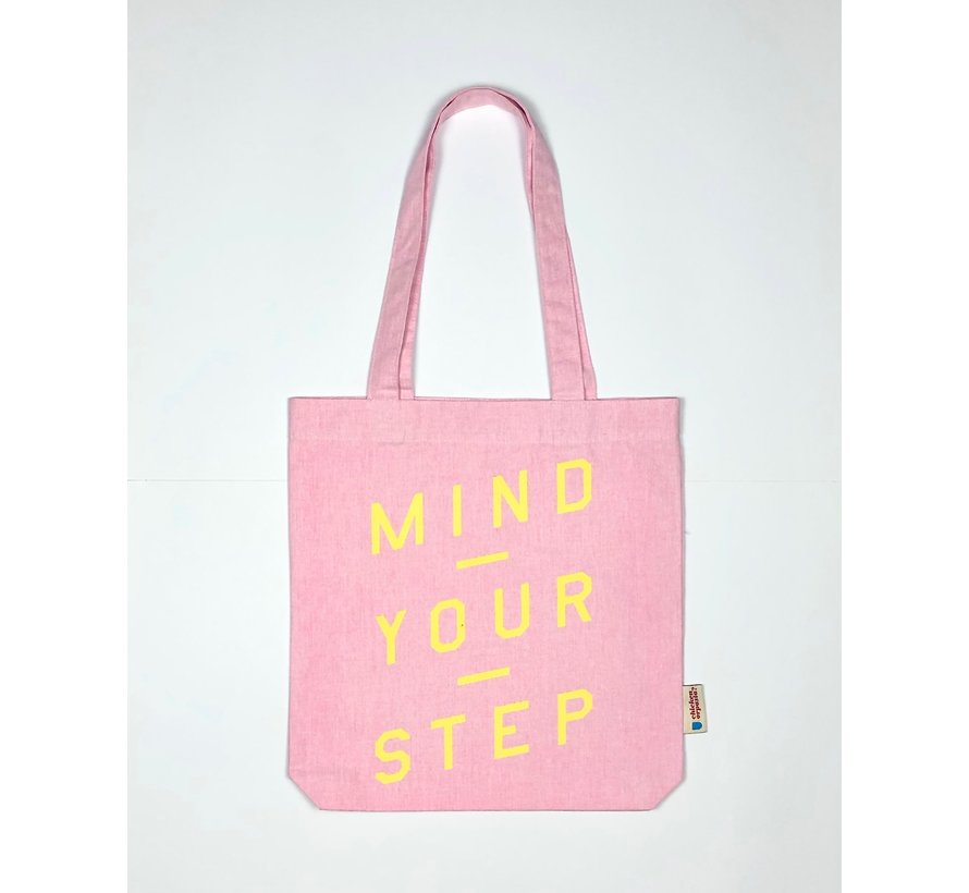 Chicken or Pasta Pink Tote Bag met opdruk Mind Your Step