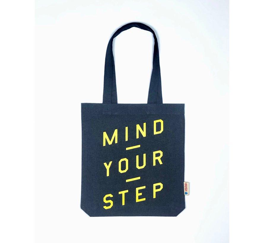 Chicken or Pasta Navy Tote Bag met opdruk Mind Your Step