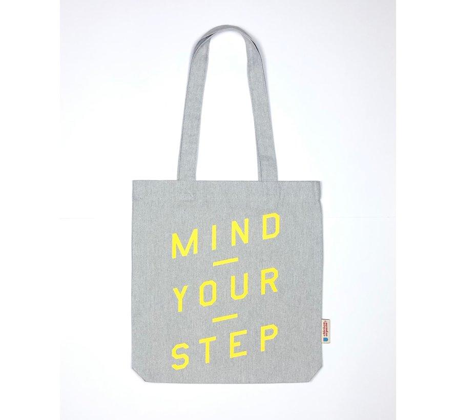 Chicken or Pasta Grijze Tote Bag met opdruk Mind Your Step