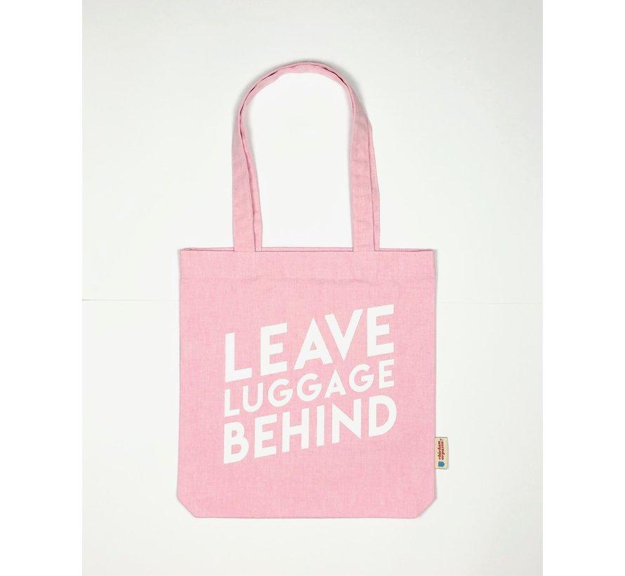 Chicken or Pasta Pink Tote Bag met opdruk Leave Luggage Behind
