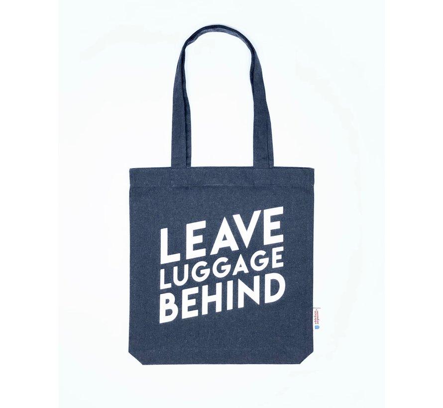 Chicken or Pasta Navy Tote Bag met opdruk Leave Luggage Behind