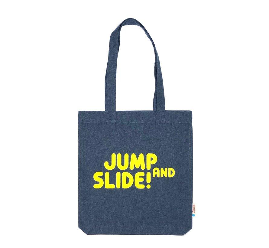 Chicken or Pasta Navy Tote Bag met opdruk Jump and Slide