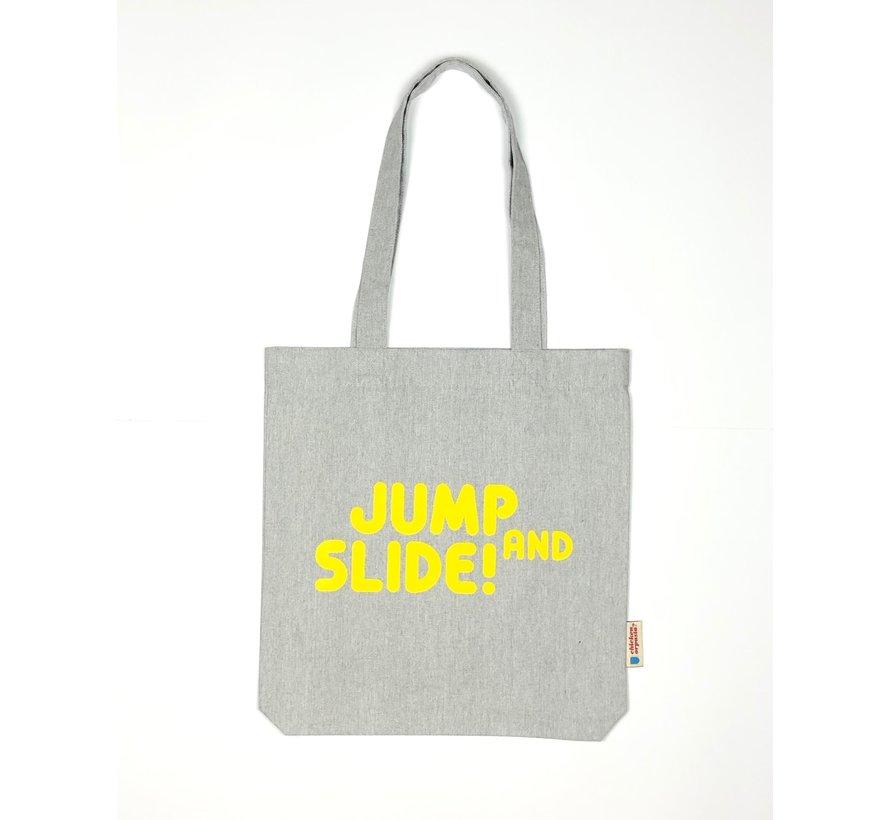 Chicken or Pasta Grijze Tote Bag met opdruk Jump and Slide