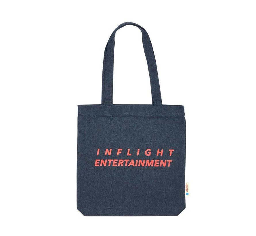 Chicken or Pasta Navy Tote Bag met opdruk Inflight Entertainment