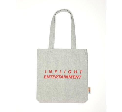Chicken or Pasta Chicken or Pasta Grijze Tote Bag met opdruk Inflight Entertainment