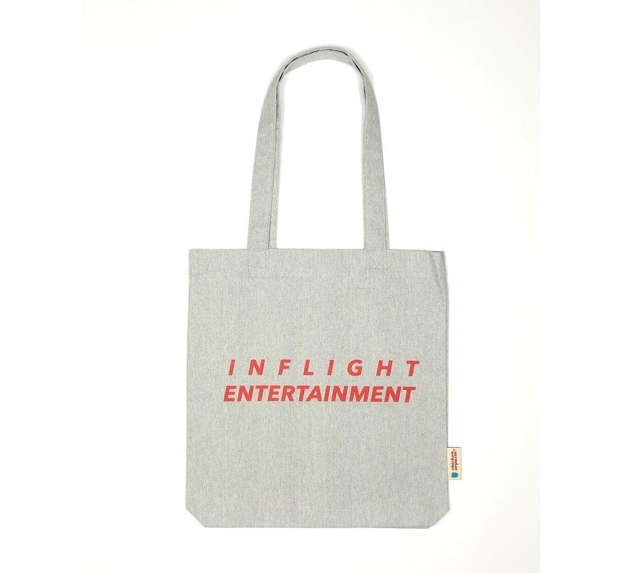 Chicken or Pasta Grijze Tote Bag met opdruk Inflight Entertainment