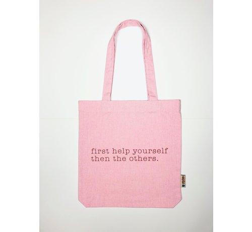Chicken or Pasta Chicken or Pasta Pink Tote Bag met opdruk Please Help Yourself
