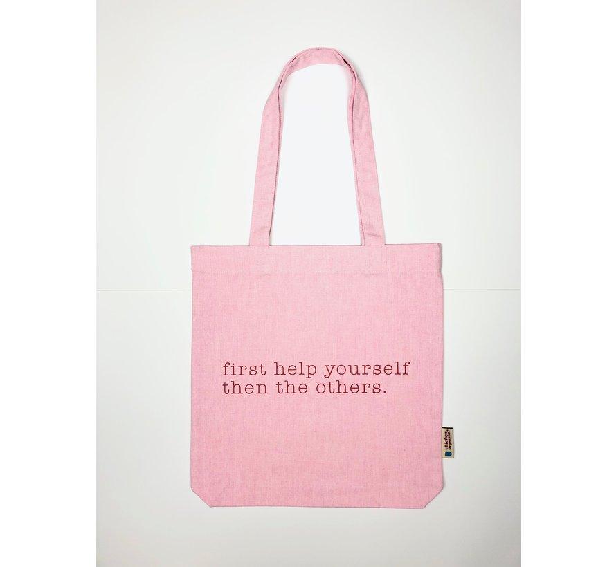 Chicken or Pasta Pink Tote Bag met opdruk Please Help Yourself