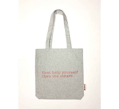 Chicken or Pasta Chicken or Pasta Grijze Tote Bag met opdruk Please Help Yourself