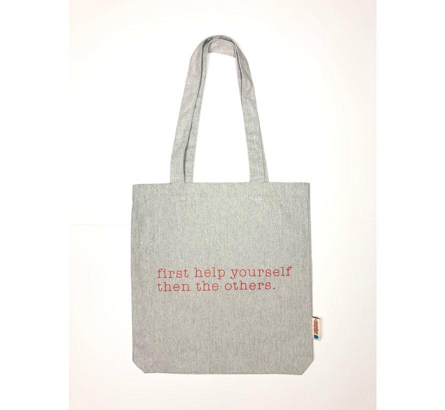 Chicken or Pasta Grijze Tote Bag met opdruk Please Help Yourself