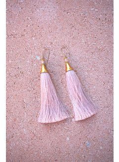 Phemke Resort Wear Zachtroze kleine tassel oorbellen