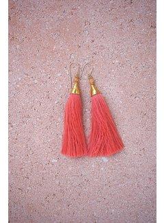 Phemke Resort Wear Koraalrode kleine tassel oorbellen
