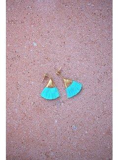 Phemke Resort Wear Aqua kleine tassel oorbellen