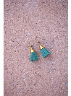 Phemke Resort Wear Groene kleine tassel oorbellen
