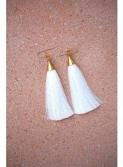 Phemke Resort Wear Witte 'tassel' Oorbellen