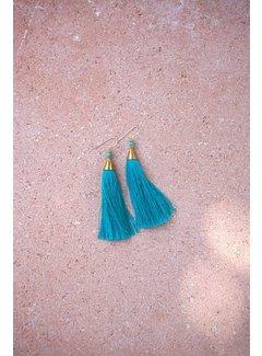 Phemke Resort Wear Blauwe 'tassel' Oorbellen