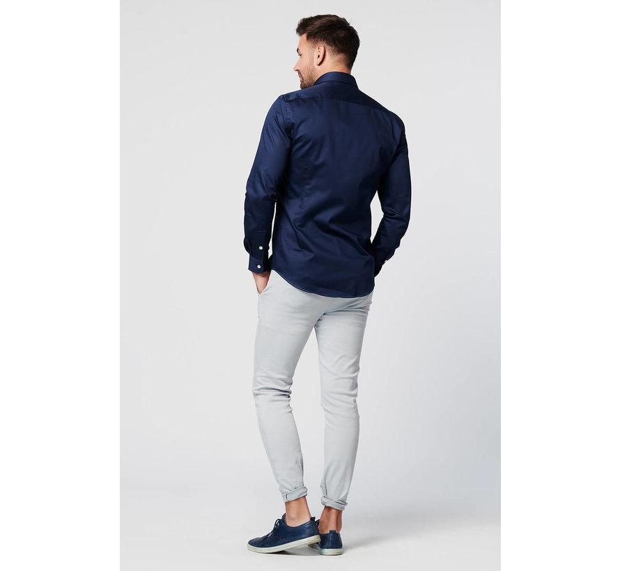 SKOT Fashion duurzaam overhemd in de kleur Navy met een satijnen finish