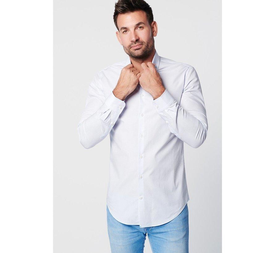 SKOT Fashion duurzaam wit overhemd met een subtiele blauwe print