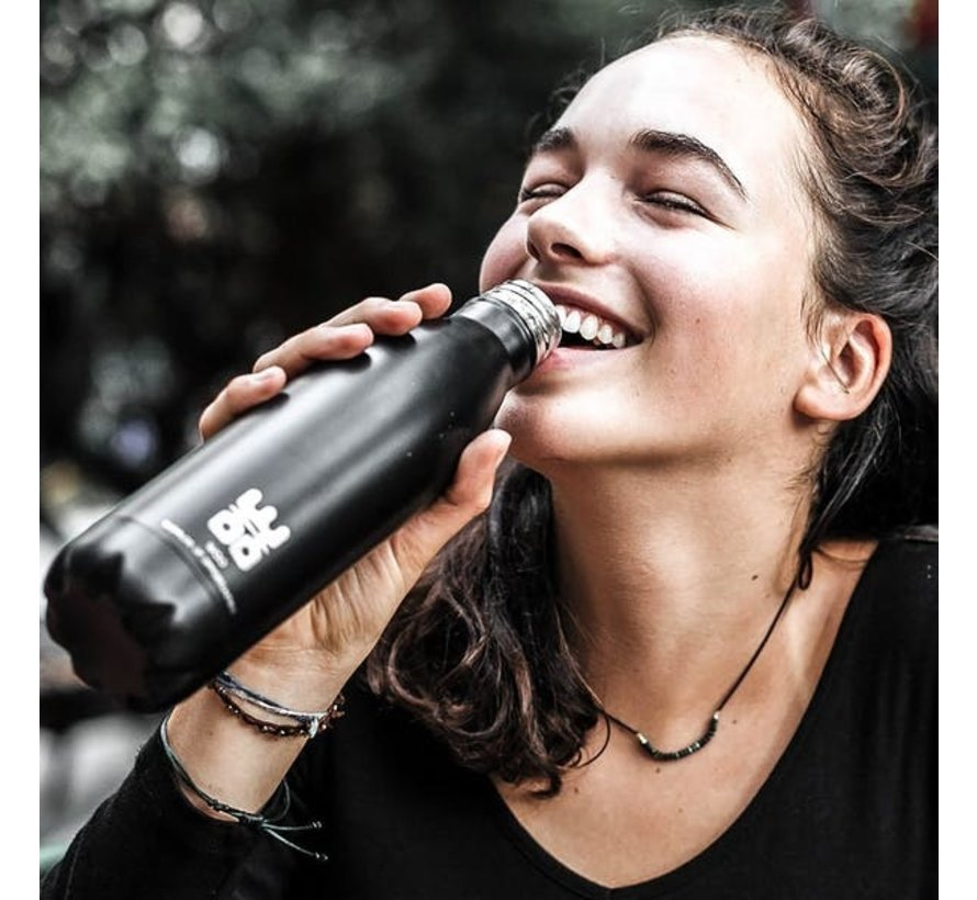 WOO Waterbottle - Keep 'm Cool and Hot Geur:  Black