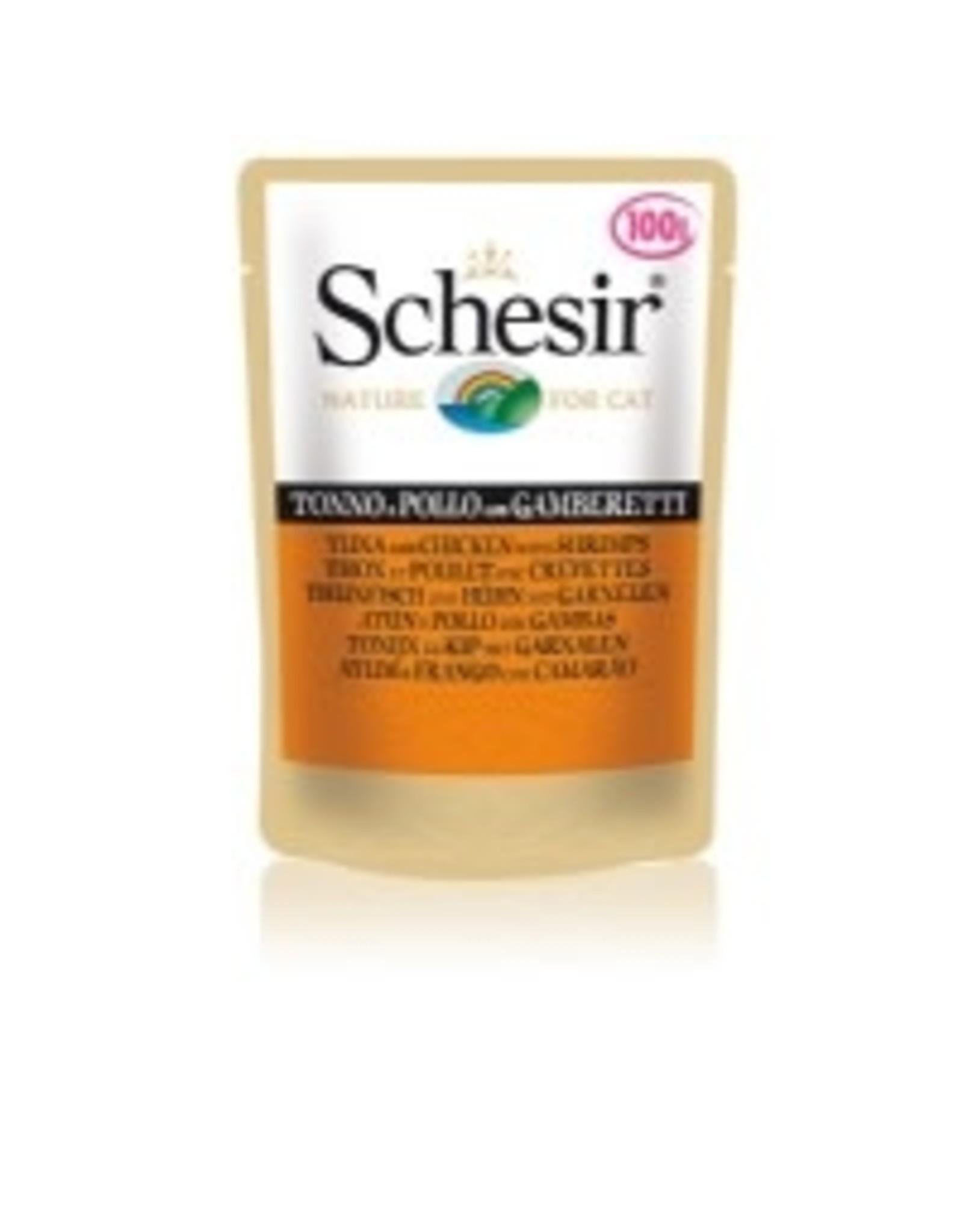 Schesir Kat Pouch Ton/Kip/Gar100Gr