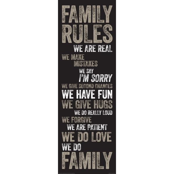Family rules englisch - Deco Panel 30 x 90 cm