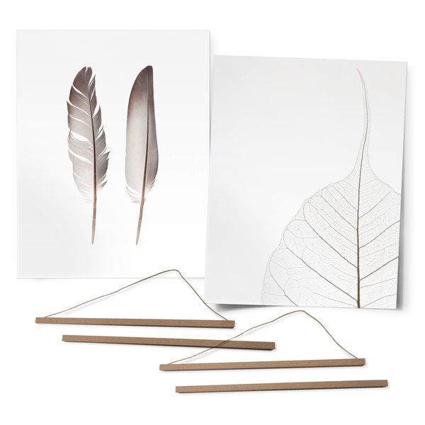 Feder und Blatt Schwarz-Weiß - Premium Poster 2-er Set 40 x 50 cm