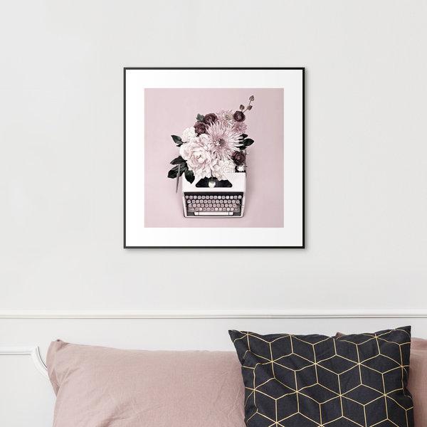 Schreibmaschine Blumen - Gerahmtes Bild 53 x 53 cm