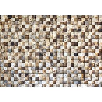 Wandbild Mosaikprint mit Holzoptik