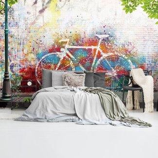 Fototapete Grafitti Fahrrad Kunst - Farbig - Urban - Streetart
