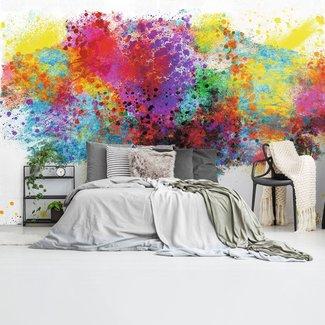Fototapete Farbkleckse Baum Farbenfroh - Natur - Kunst