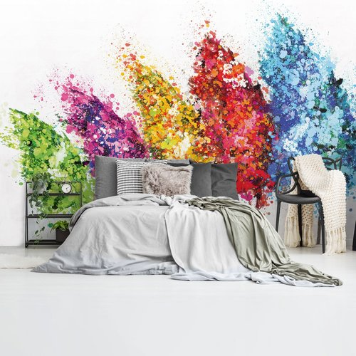 Fototapete Farbklecks Bäume Farbenfroh