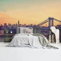 New York Brücke Brooklyn Brücke - Manhattan - Skyline - Abendsonne   - Fototapete Vlies 384 x 260 cm