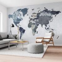 Denim Weltkarte Jeans Style - Blau - Denim - Fototapete Vlies 384 x 260 cm