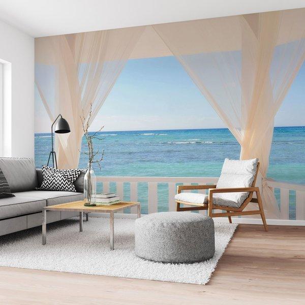 Balkon am Meer Ferien - Ruhe - Ozean - Seebrise - Fototapete Vlies 384 x 260 cm