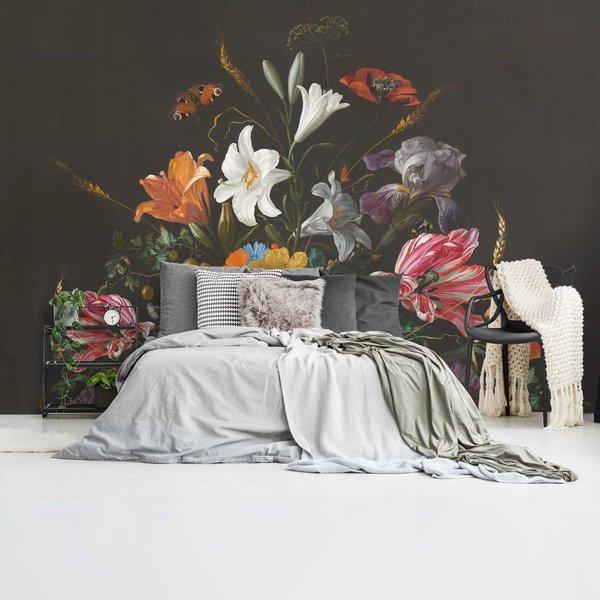 Stilleben mit Blumen Jan Davidsz de Heem - Alte Meister - Berühmte Gemälde - Schmetterling - Fototapete Vlies 384 x 260 cm