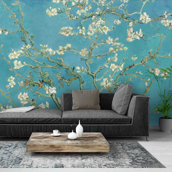 Mandelblüte Vincent van Gogh - Berühmte Gemälde - Blumen - Blau - Fototapete Vlies 384 x 260 cm