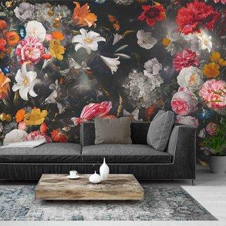 Fototapete Blumenwelt Schwarz