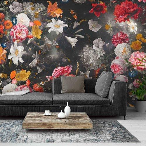 Fototapete Blumenwelt Schwarz  Farbenfroh - Blumen - Pflanzen