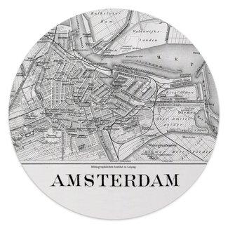 Glasbild Schwarz & Weiß Amsterdam Stadtplan