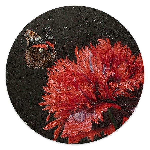 Stillleben mit Blumenvase Jan Davidsz de Heem - Alte Meister - Berühmte Gemälde - Detail - Glasbild Round Art Glas 30 cm