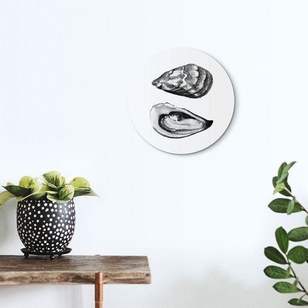 Schwarz & Weiß Austern - Glasbild Round Art Glas 30 cm